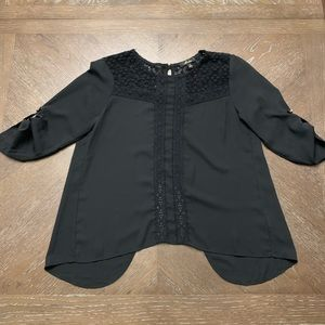 Black with lace 3/4 sleeves blouse  M